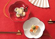 大安吉日紅白梅型組福寿鉢